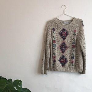 Vintage Hand Knit Floral Sweater